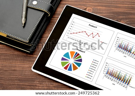 Digital tablet and personal organizer - stock photo