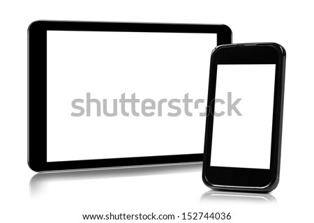 digital tablet and smartphone isolated on white - stock photo