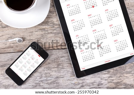 Digital Tablet Calendar - stock photo