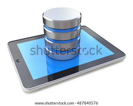 Digital tablet connected with database on the white background in the design of information related to computer technology. 3d illustration