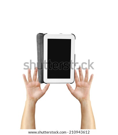 Digital Tablet Hand Held Device isolated on white background - stock photo