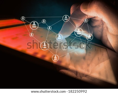 digital tablet in hand, social media concept - stock photo