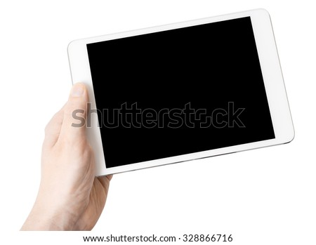 Digital tablet in one hand, on a white background, isolated - stock photo
