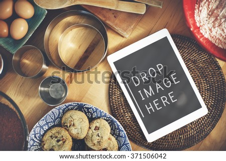 Digital Tablet Kitchen Bakery Cookies Copy Space Concept - stock photo