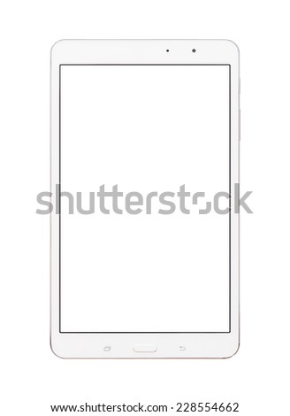 Digital tablet pc computer with blank screen isolated on white background - stock photo