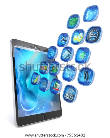 Digital tablet PC 3d applications isolated on white - stock photo