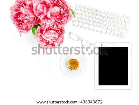 Digital Tablet PC, Keyboard, Cup of Coffee. Home office workplace business woman. Flat lay for social media blogger - stock photo