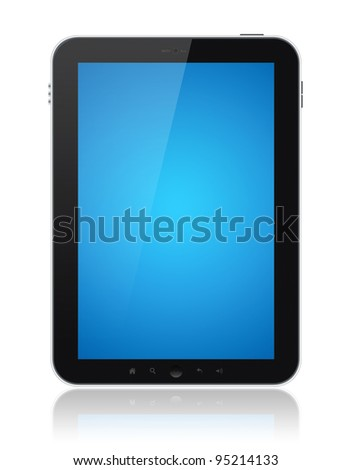Digital tablet PC with blue screen isolated on white. Include clipping path for tablet and screen.
