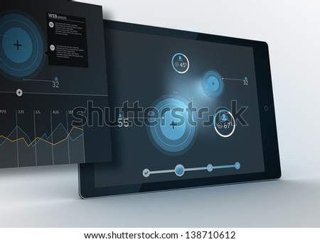 Digital tablet showing data and circles with projection on blue background
