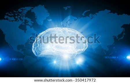 Digital technology background with human brain concept