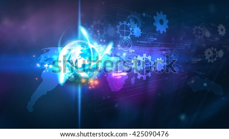 Digital technology concept.World connected.Social network concept. - stock photo