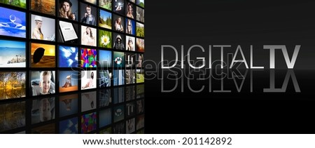 Digital television screens on black background - stock photo