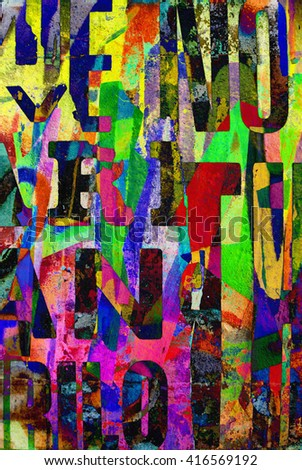 Digital urban collage background or typography paper texture - stock photo