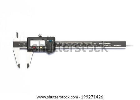 digital vernier caliper isolated on white background - stock photo