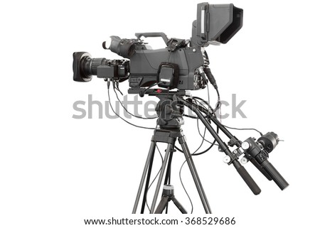 Digital video camcorder for use Television Professional studio isolated on white background with clipping path - stock photo