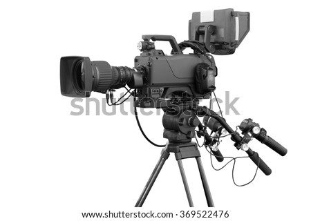 Digital video camera for use Television Professional studio isolated on white background with clipping path - stock photo