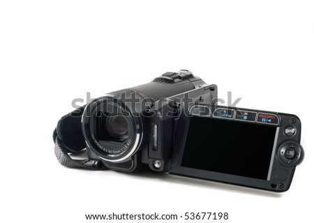 Digital video camera isolated on a white - stock photo