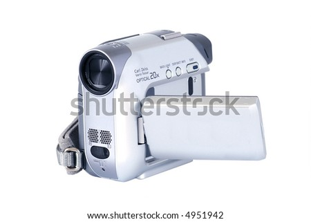 Digital video camera isolated on white - stock photo