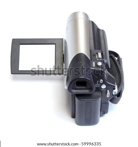 digital video camera on white background - stock photo