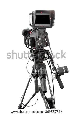 Digital video camera only use Television Professional studio isolated on white background with clipping path - stock photo