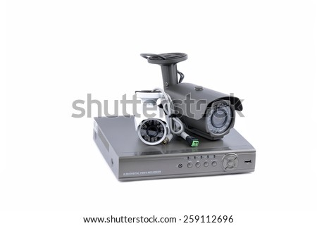 Digital Video Recorder and video surveillance cameras - stock photo