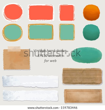 digital vintage paper and hand-drawn web button kit: old paper - different aged paper objects for your layouts - stock photo