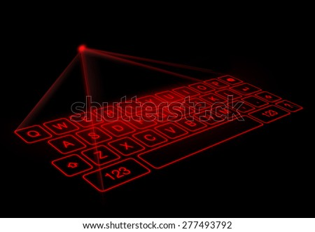 Digital virtual keyboard on black background. A projection keyboard is a form of computer input device whereby the image of a virtual keyboard is projected onto a surface. - stock photo