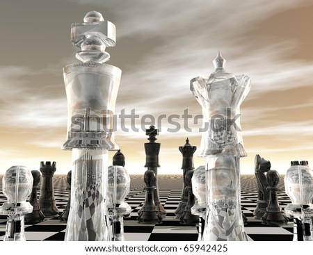 digital visualization of a chessboard - stock photo