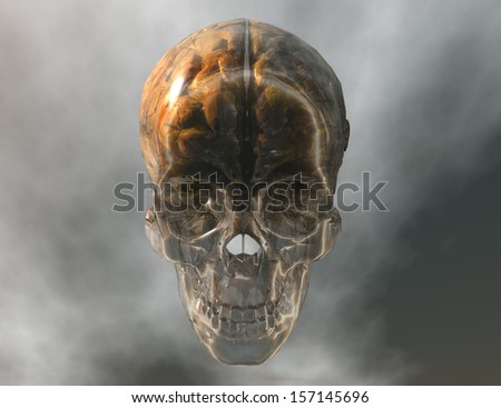 digital visualization of a crystal skull with brain - stock photo
