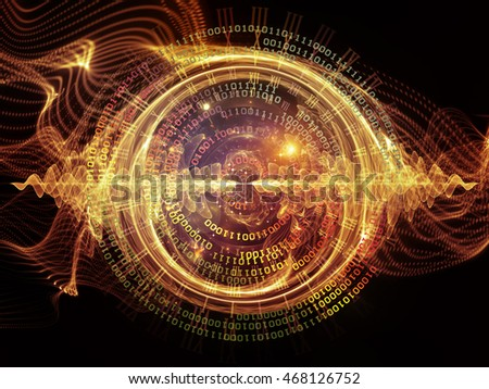 Digital Vortex series. Design composed of circular wave pattern and numbers as a metaphor on the subject of science, math, research, communications and modern technologies