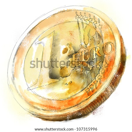 Digital watercolor Illustration of a ruined euro coin - stock photo