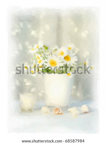Digital watercolor of white daisies and seashells with white lace - stock photo