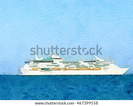 Digital Watercolor Painting Cruise Ship Sea Stock Illustration - Can you text from a cruise ship