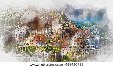 Digital watercolor painting of Amalfi. Amalfi is a charming, peaceful resort town on the scenic Amalfi Coast of Italy.