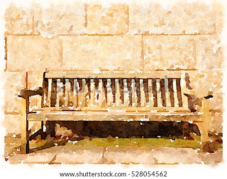 Digital watercolor painting of an empty bench in front of a stone wall with space for text.