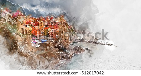 Digital watercolor painting of Manarola. Manarola is a small coastal village in the Italian region of Liguria, Cinque Terre. Province of La Spezia.  Italy