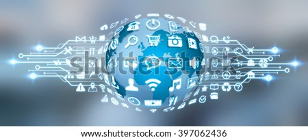 Digital web earth with modern icons - stock photo
