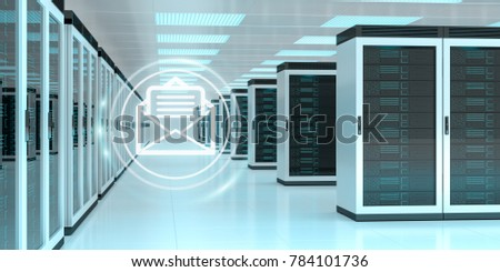 Digital white emails exchange over server room data center interior 3D rendering