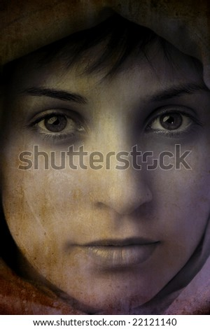 digital work with a beautiful girl face in grunge background - stock photo