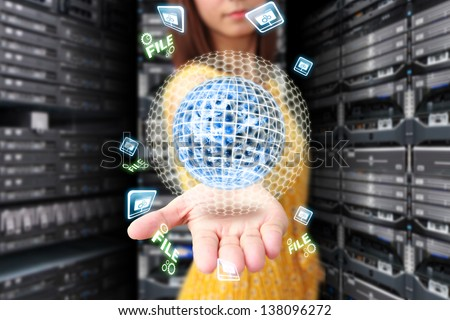 Digital world and digital icon : Elements of this image furnished by NASA - stock photo