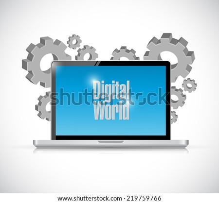 digital world computer sign illustration design over a white background - stock photo