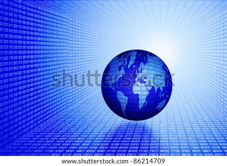 digital world concept, globe in light digital tunnel - stock photo