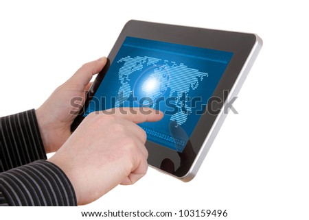 Digital world concept graphic, including digital map on tablet , on businessman hands - stock photo
