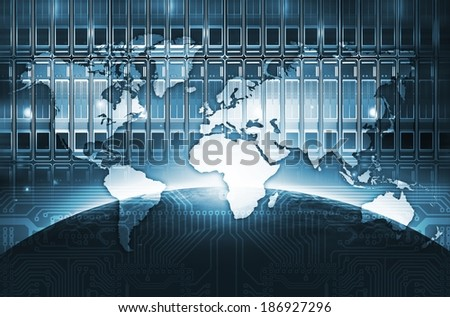 Digital World Concept Illustration with Servers, Global Connections and World Map. internet Technologies.