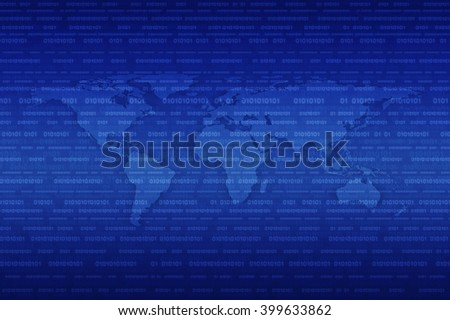 Digital world map over binary code blue background, Elements of this image furnished by NASA - stock photo