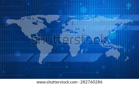 digital world map technology style for business background