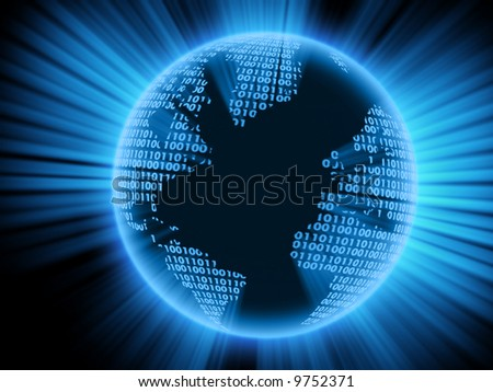 Digital world on a black background. 3d model. - stock photo