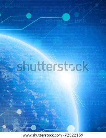 digital world on a soft blue background - stock photo
