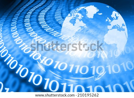 Digital world on abstract binary background