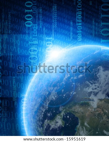 digital world: planet earth with integrated bits and bytes - stock photo
